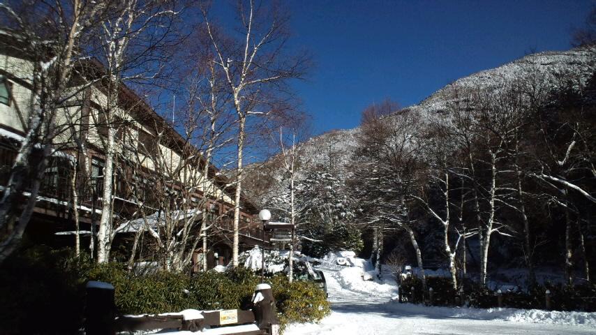 雪山に青空の有終の美の日